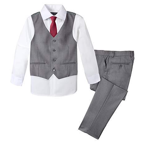Spring Notion Boys' Formal 4-Piece Set Grey/Red 14
