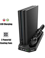 PS4 Pro Charging Station with Cooling Fan, Insten PS4 Pro Dual Controller Charging Dock in Vertical Stand Design with 3 USB Hub Charging Ports, Bulit-in Cooling Fan and Charging LED Indicator