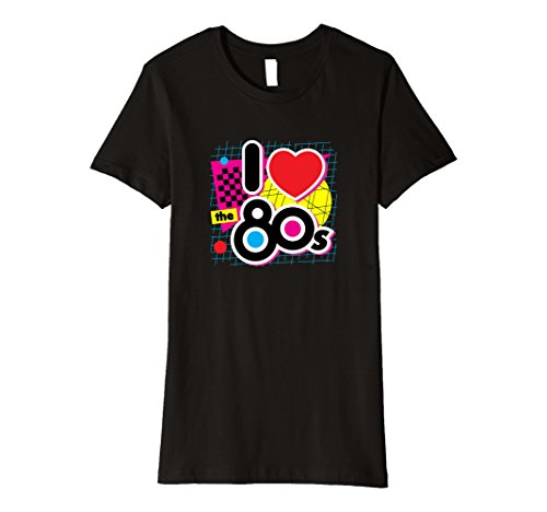 Womens 80s Love I Heart the Eighties Retro Graphic Premium T-Shirt XL Black (I Heart The 80s T Shirt)