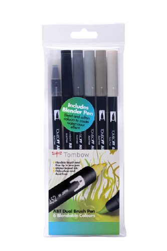 Tombow ABT Dual Brush Pen Includes Blender Pen - Grey Colours (Pack of 6)