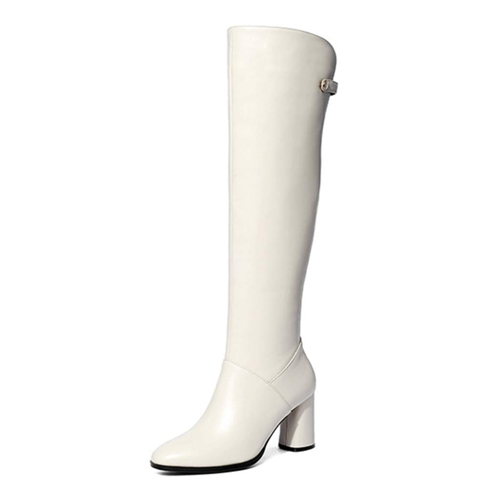 Overknee-Stiefel Round Toe Thick Heels Plüsch-echtes Leder-Stiefel Knight Stiefel Für Damen Long Tube Stiefel Diskothek Partei