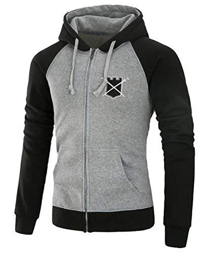 Beloved Mens Premium Heavyweight Two-Tone Raglan Pullover Hoodie Sweatshirts Light Grey XL