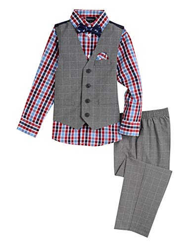 Nautica Boys' 4-Piece Vest Set with Dress Shirt, Bow Tie, Vest, and Pants, light medium grey heather, 2T 4 Button Gray Dress Suit