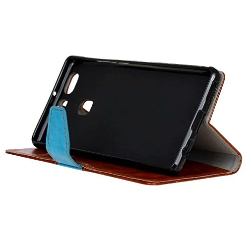 Huawei P9 más la caja de la carpeta del tirón, la sentencia de primera calidad genuina doble de la calidad del diseño en color tirón de la carpeta de cuero con 2 ranuras para tarjetas y la función del