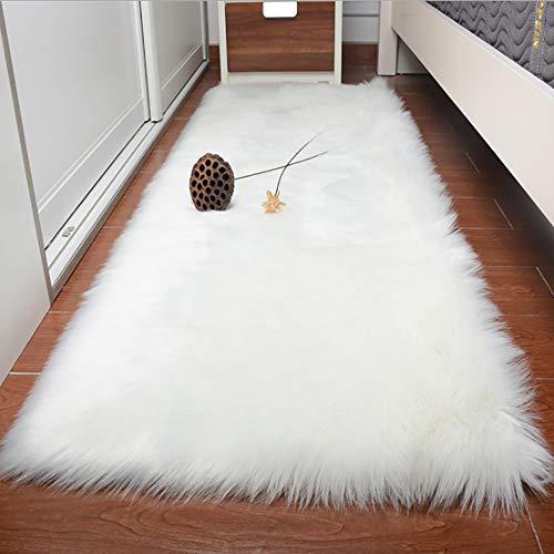 LOCHAS Premium Faux Sheepskin Fur Rug (2.3 x 5 Feet) Thick Wool Fur Fleece Shaggy Rugs Cozy & Fluffy for Bedroom Sofa Floor Chair Cover, White ()