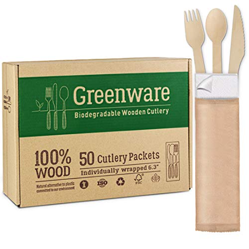50 Disposable wooden cutlery packets   individually wrapped set of fork knife spoon and napkin   100% compostable wood…
