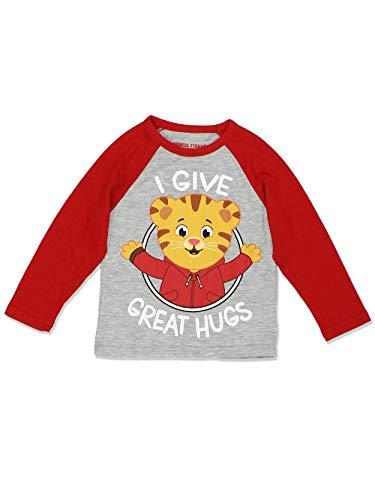 Daniel Tiger Toddler Boys Girls Long Sleeve Tee (3T, Red/Grey)