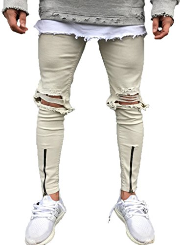 Men's Khaki Slim Fit Destroyed Ripped Skinny Denim Jeans With Zipper 28
