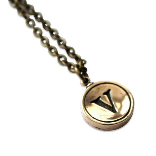 Solid Bronze - Typewriter Key Letter Initial Pendant Necklace - 18 Inch Bronze Chain (Letter V)
