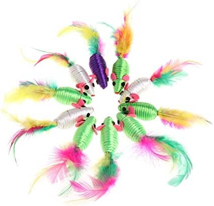 Professional 10 Pcs Silk Yarn False Mouse Cat Toys Colorful Feather Lovely Chew Playing, Cat Toys Mice - Banana Gum, Mink Lot, Paint Eyelashes, Set In Pet Supplies, Feather Necklace In Pet Supplies