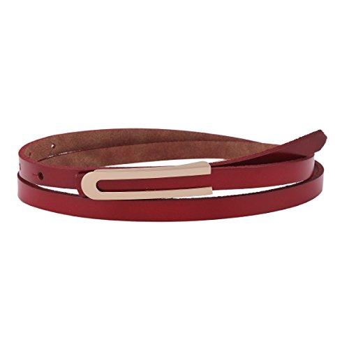 Damara Women's Solid Thin Genuine Leather Skinny Button Dress Waist Belt,Red (Decoration Genuine Leather Belt)