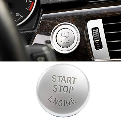 Jaronx Chrome-plated Start Stop Button For BMW (E Chassis,1 3 5 6 X1 X3 X5 X6 Series),Engine Switch Power Ignition Start Stop Button Replacement-E Chassis Silver ()