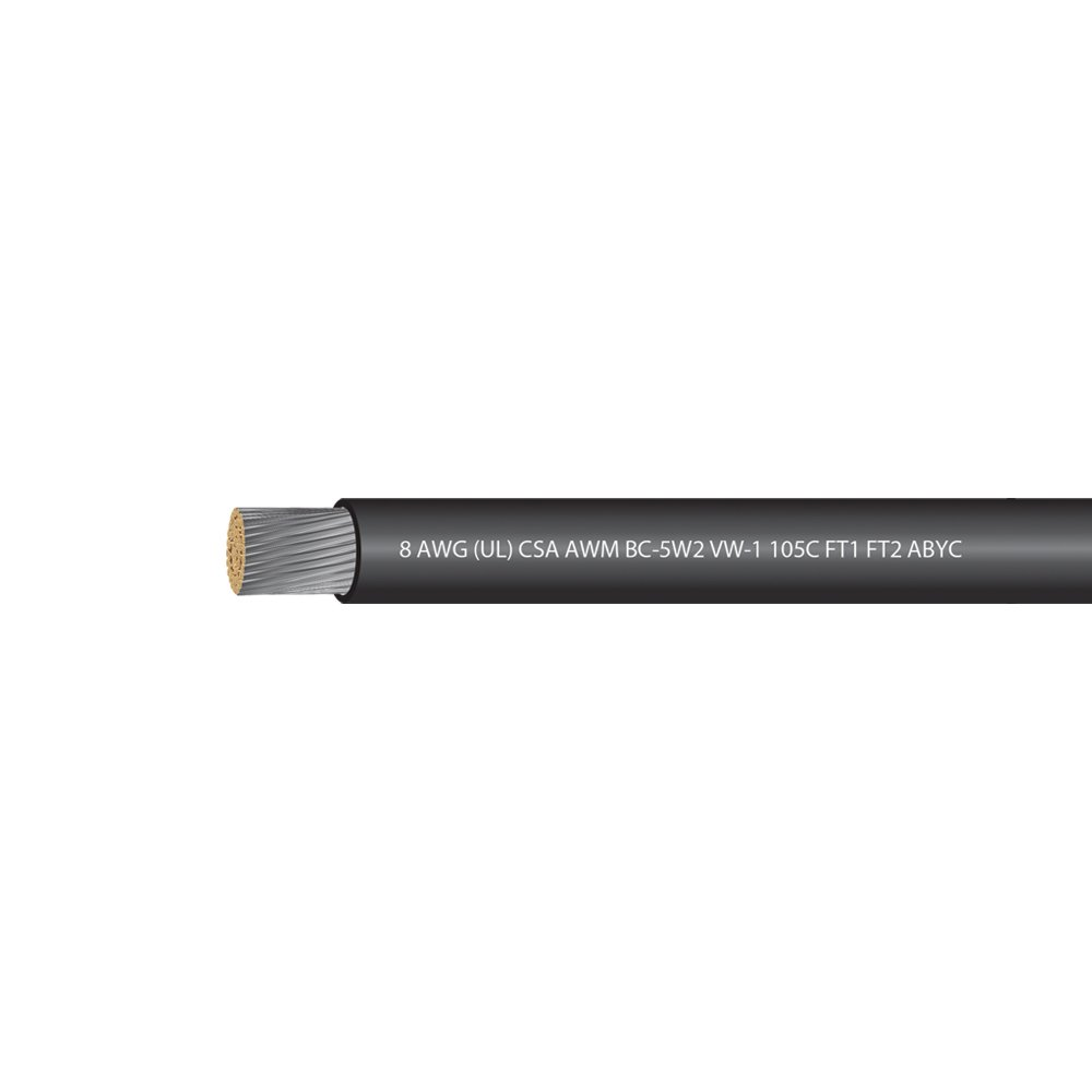 EWCS 8 AWG (UL) Marine Grade Tinned Copper Boat Battery Cable 600 Volts - Black - 50 Feet - Made in USA by EWCS