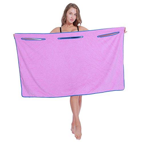 WEARABLE TOWEL IVC Unisex Microfiber Bathrobe for Bath Towel Wrap,Sauna,Travel, Sport,Beach