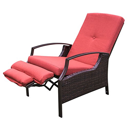 HollyHOME Patio Wicker Adjustable Recliner Chair, Relaxing Lounge Chair with Thick Red Spunpoly Cushion, Water Resistant