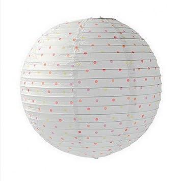 Artif Farol japonés de Papel, esférico, diseño de Lunares, Color Blanco, 35 cm: Amazon.es: Hogar