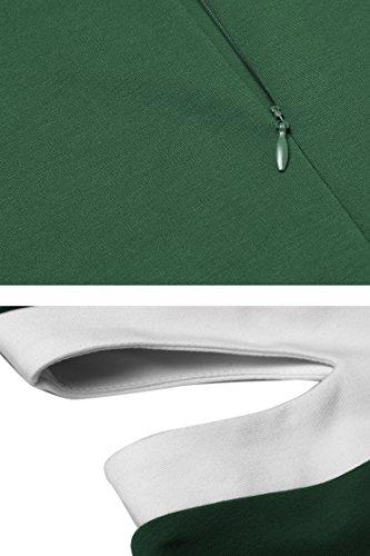 Zeagoo Cocktail Dress Women's O Neck Sleeveless A-line Stretch Mini Casual High Wasit Dress Green
