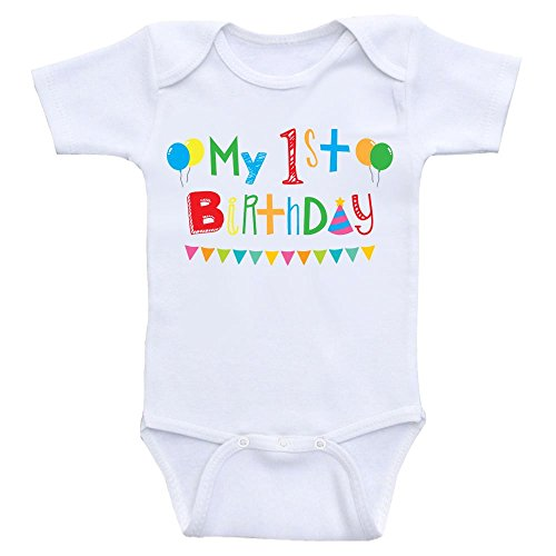 (First Birthday Baby Clothes My 1st Birthday Onesies for Babies (12mo-Short Sleeve, Color As Shown) White )