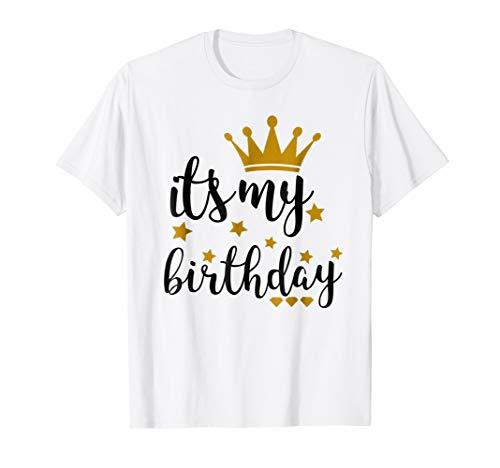 It's My Birthday Shirt for Women, Teens, Girls, Black & Gold -