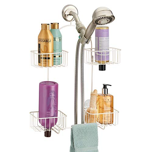 mDesign Metal Hanging Bath and Shower Caddy Organizer for Hand Held Shower Head and Hose - Storage for Shampoo, Conditioner, Hand Soap - 4 Shelf Format - Cream/Beige