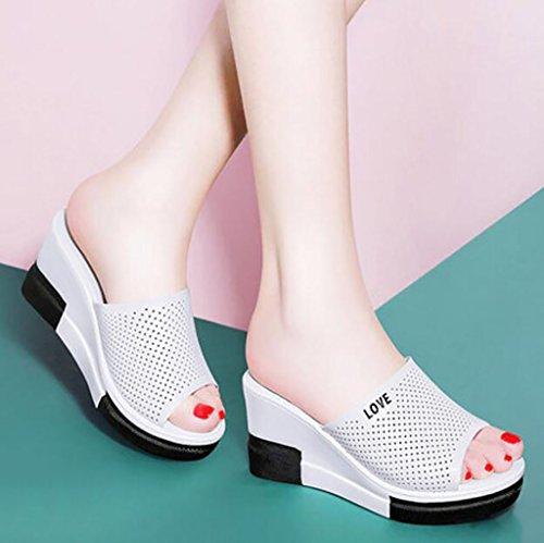 con A planas Sandalias FAFZ gruesas femeninas moda de Sandalias Sandalias Tamaño pendientes 34 zapatillas verano A Color de Elegantes Sandalias alto de tacón W6YBqwf6