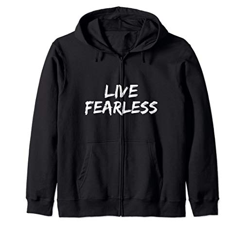 Bold Christian Quote for Men Faith Saying Live Fearless Zip Hoodie