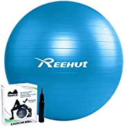 REEHUT Exercise Ball, Anti-Burst Balance Ball with Quick Pump & Manual for Yoga, Stability, Core Exercise,