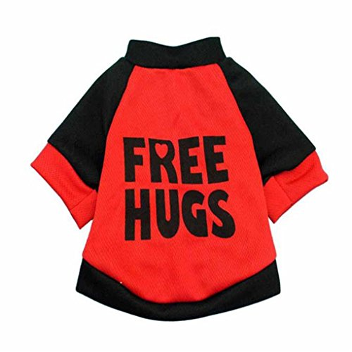 haoricu Puppy Clothes, Autumn Coat Chiens Dog Pajamas Pet Clothes Clothing Puppy Coat Cat Custome (L, Red) for $<!--$1.55-->