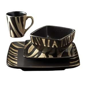 American Atelier Safari 16-Piece White Zebra Dinnerware Set