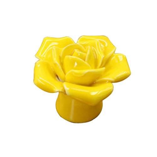 Floralby Rose Flower Ceramic Door Knob Drawer Pulls Cupboard Door Knob Handles with Screw (Yellow) - Yellow Flower Drawer Pull