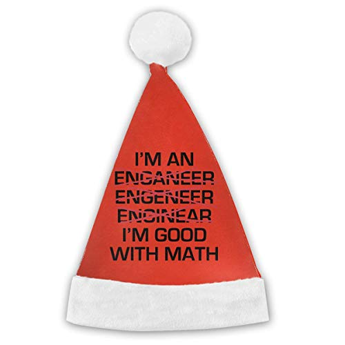 I'm an Engineer I'm Good at Math Sarcastic Halloween Customes Hat,Christmas Hat Velvet Santa Party Hats ()