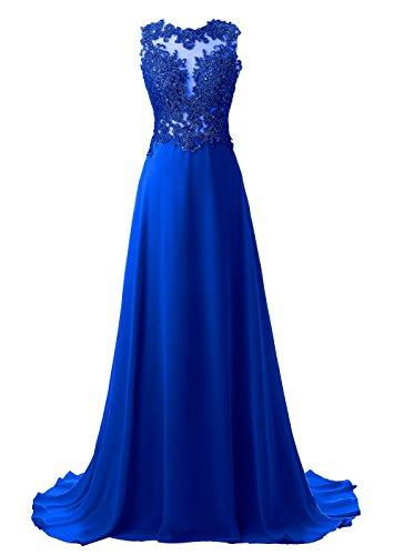 Coctel Vestidos Callmelady Elegantes Largos Azul de Mujer de Encaje de Real Vestido Noche Fiesta vddR6q