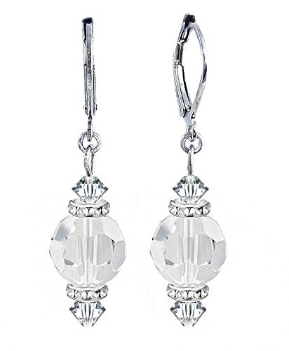 Round Crystal Drop Earrings - Clear - by A-Ha (E544)