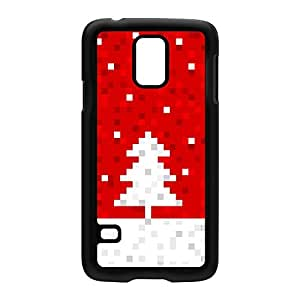 White Pixelated Christmas Tree on Red Black Hard Plastic Case for Samsung? Galaxy S5 by UltraCases + FREE Crystal Clear Screen Protector