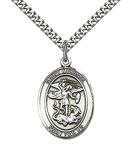 bliss Sterling Silver Saint Michael The Archangel Air Force Medal Pendant, 1 Inch