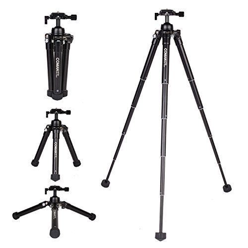 Camera Tripod 24.4-Inch Aluminum Lightweight Portable Mini Desktop Tripod with Ball Head for DSLR Cameras, Carrying Bag Included (Black) by COMAN