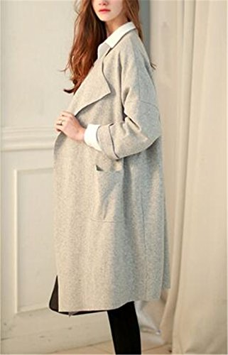 Casuales BESTHOO Elegantes Manga Chaquetas Largo Color Gray Con Clasicos Abrigos Mujer Cardigan Coat Sencillos Tops Bolsillo SÓLido Outwear Larga Abrigos ffP7wn