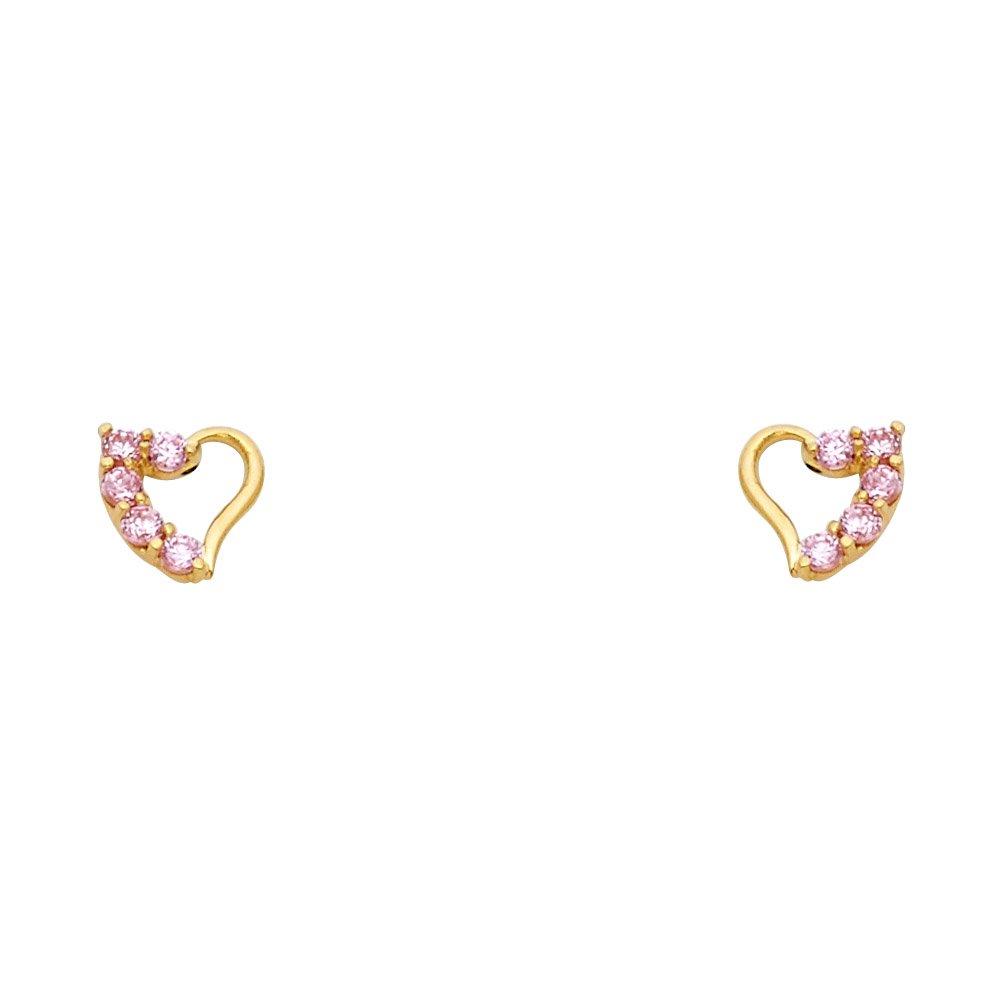Wellingsale 14K Yellow Gold Polished Journey Heart Stud Earrings With Screw Back