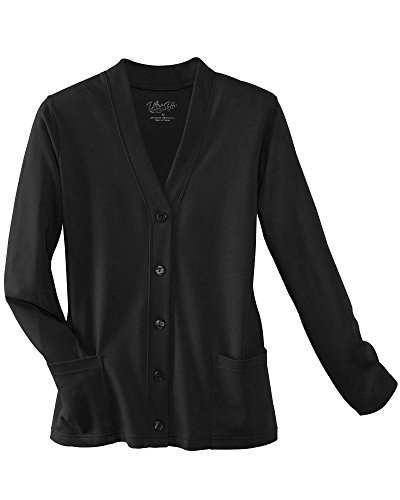 UltraSofts Button-Front Knit Cardigan, Black, Small (Cotton Knit Button)