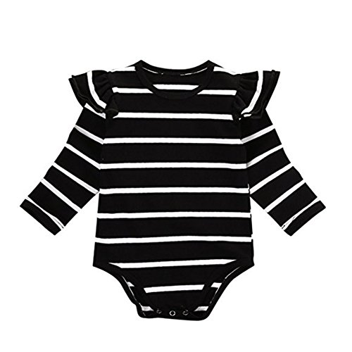 Kingte Baby Girls Long Sleeve Ruffle Romper (18-24M, Black Stripe) (Romper 20)