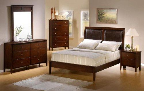 - Tamara II Platform 4PC Queen Size Bedroom Group in Natural Walnut Finish!