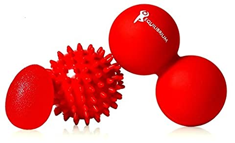 GIVE IT A TRY! Massage Ball Roller Set of 3 - Foot, Back Pain Spiky, Lacrosse Yoga Ball Therapy Tool for Trigger Point Tight & Sore Muscles, Hand Grip Strengthener + FREE Booklet & (Trigger Point Therapy Hand)