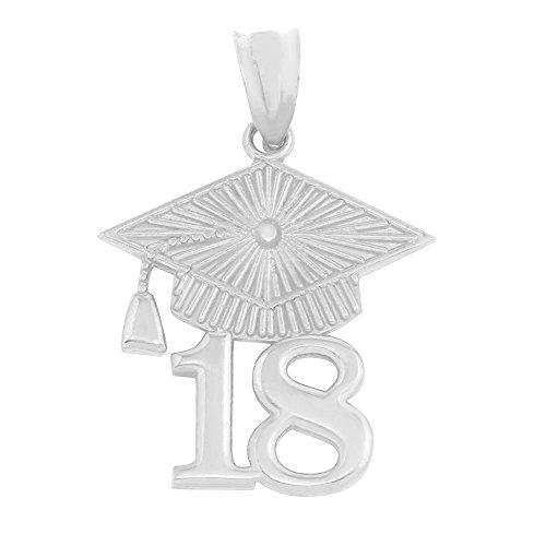 925 Sterling Silver 2018 Graduation Cap Charm Pendant