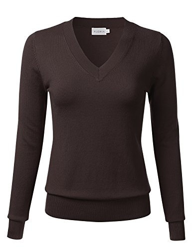 - FLORIA Womens Soft Basic Thick V-Neck Pullover Long Sleeve Knit Sweater Brown M