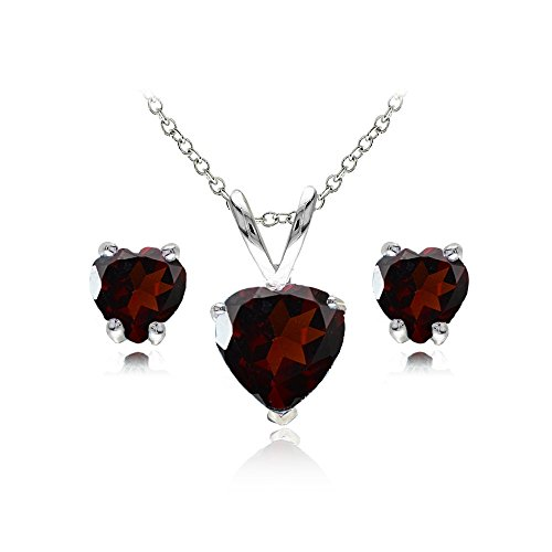 GemStar USA Sterling Silver Garnet Heart Solitaire Necklace and Stud Earrings Set