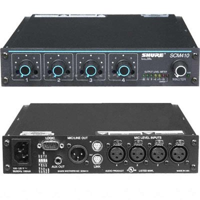 Shure SCM410 4-Channel Automatic Microphone Mixer (110V) with Logic Control and EQ per Channel