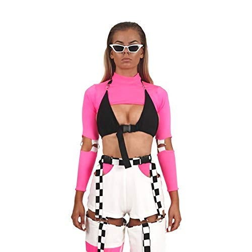 Velius Womens Sexy Mesh Fishnet Hollow Out Long Sleeve Crop Top Hooded Shirt (Small, Sexy Pink01) ()
