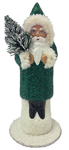 Pinnacle Peak Trading Company Ino Schaller Forest Green Glitter Santa German Paper Mache Candy Container