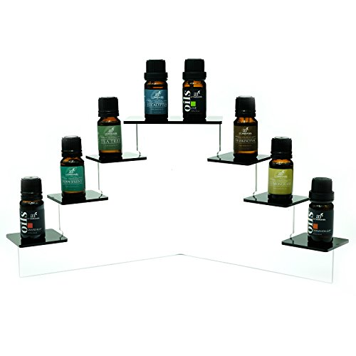 SOURCEONE.ORG Source One Deluxe Acrylic 7 Tier Display Stand, Available in 3 Sizes Clear & Black (Small, Black)