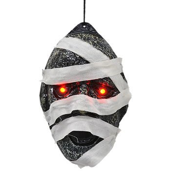 Costume No Homemade Face (Spooky Mummy Mask Halloween Decoration Plastic Light Up Eyes, Batteries Included Haunted House Halloween Spider Web Spiders Creepy Scary Harvest Decor Decoration)